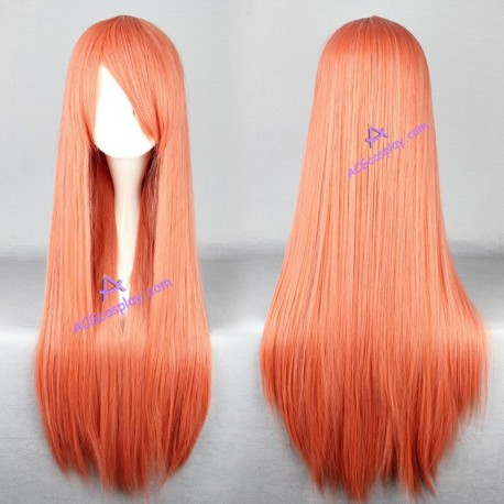 General wig cosplay wig long straight wig light orange color 80cm 32inches c65ab3949