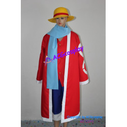 One Piece Monkey D. Luffy cosplay costume with straw hat