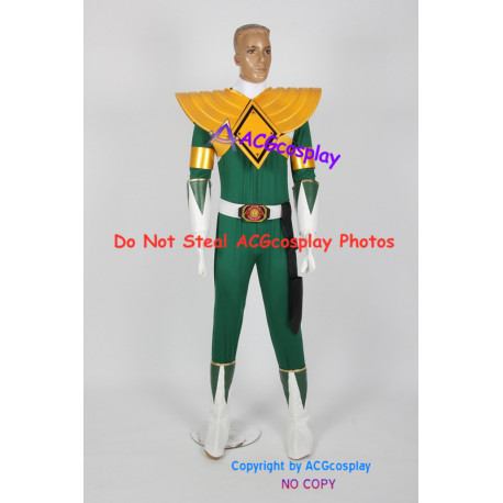 Power Rangers Green Ranger Cosplay Costume with solid pvc made shield vest armband prop
