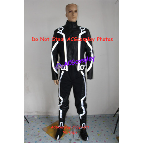 Tron Legacy Sam Flynn Cosplay Costume with light reflection strip include boots covers