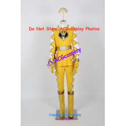Power Rangers Dino Thunder Yellow Dino Ranger Cosplay Costume with real cosplay boots
