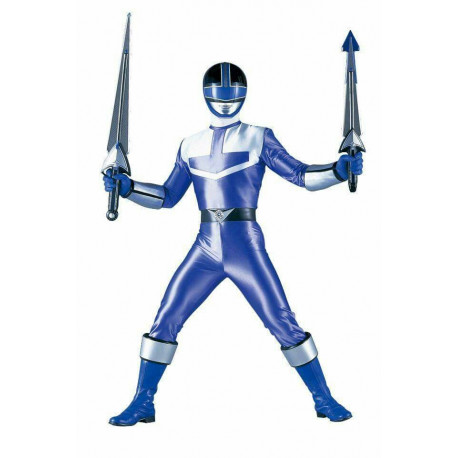 Power rangers Time Force Blue suit cosplay costume with cosplay boots shoes