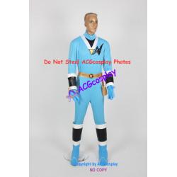 Power rangers Saizou ninja blue ranger Kaku ranger cosplay costume with real boots