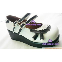 Black and white clasp wedges princess shoes lolita shoes boots cosplay shoes