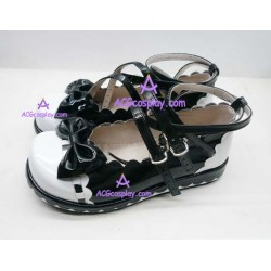 Black and white lace clasp princess shoes lolita shoes boots cosplay shoes
