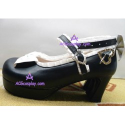 Black and white perfect double bowknot princess shoes lolita shoes boots cosplay shoes