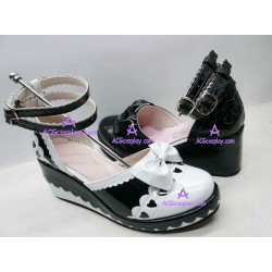 Black and white princess sandals lolita shoes boots cosplay shoes