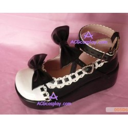 Black and white princess shoes lolita shoes boots cosplay shoes