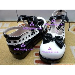 Black and white princess shoes version1 lolita shoes boots cosplay shoes