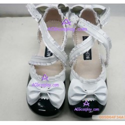 Black and white princess shoes version2 lolita shoes boots cosplay shoes