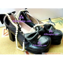Black clasp thick soles princess shoes lolita shoes boots cosplay shoes