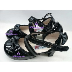 Black lacy clasp princess shoes lolita shoes boots cosplay shoes