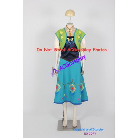 Disney Frozen Anna Cosplay Costume Frozen Fever Dress Cosplay