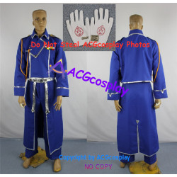 Fullmetal Alchemist Maes Hughes Cosplay Costume incl.collar pin and gloves