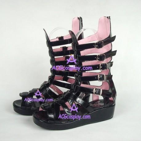 lolita shoes boots gothic punk sandals style 6018A black