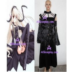 Chobits Freya Black Silk Satin fabric made cosplay costume