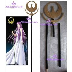 Saint Seiya Athena Saori Kido wand wood made cosplay props