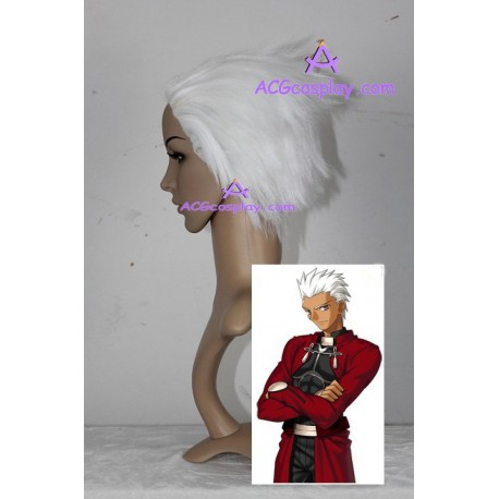 Fate stay night Archer wig short white cosplay wig