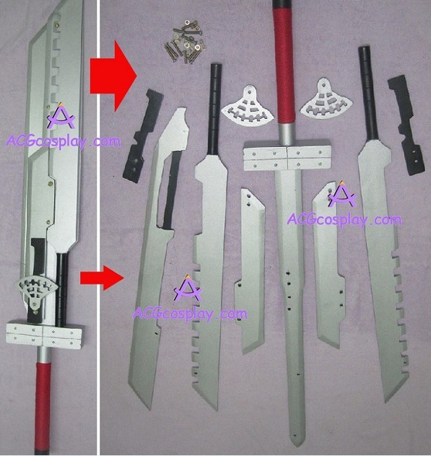 Ff7 Final Fantasy 7 Cloud Strife Blade Sword Combined Style