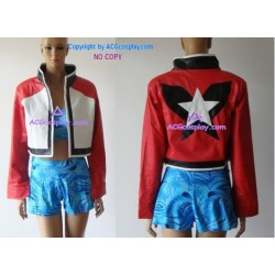 Rock Howard's jacket cosplay costume red leatherette include gloves