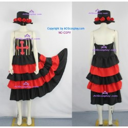One Piece Perona Cosplay Costume include the hat and fabric flowers decoration
