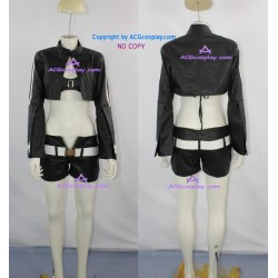 Vocaloid Black Rock Shooter Black Gold Saw Cosplay Costume faux leather made